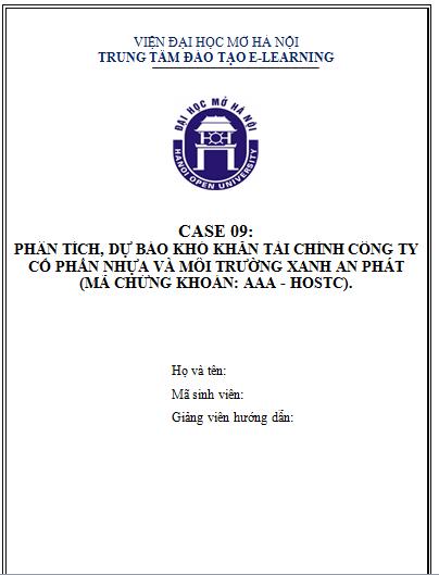 CASE 09 - Phân tích, dự báo khó khăn tài chính công ty nhựa và môi trường xanh