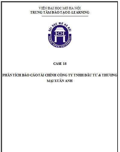 CASE 18 - PHÂN TÍCH BÁO CÁO TÀI CHÍNH CÔNG TY XUÂN ANH