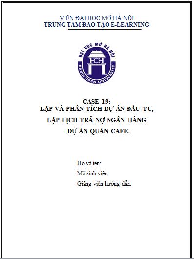 CASE 19 - DỰ ÁN QUÁN CAFE