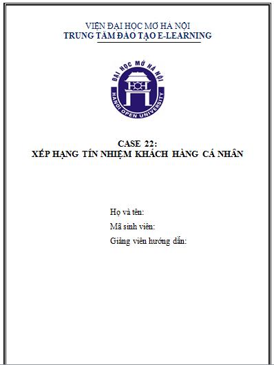 CASE 22 - XẾP HẠNG TÍN DỤNG KHÁCH HÀNG CÁ NHÂN