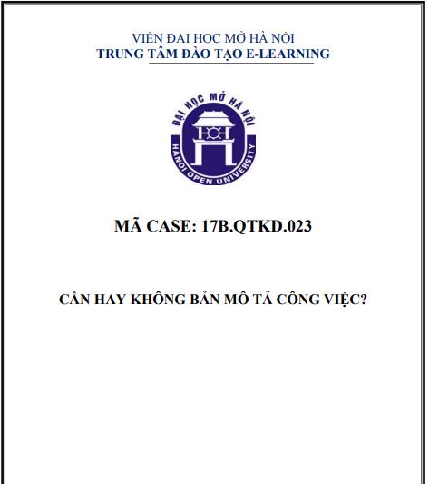 CASE 23 - CẦN HAY KHÔNG BẢNG MÔ TẢ CÔNG VIỆC