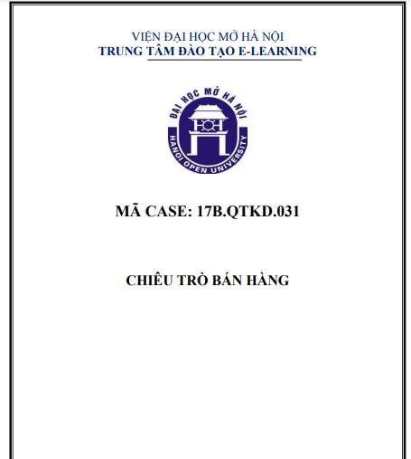 CASE 31 - CHIÊU TRÒ BAN HÀNG